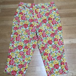 Jones NY Yellow Coral Floral Cotton Crop Pants 18W